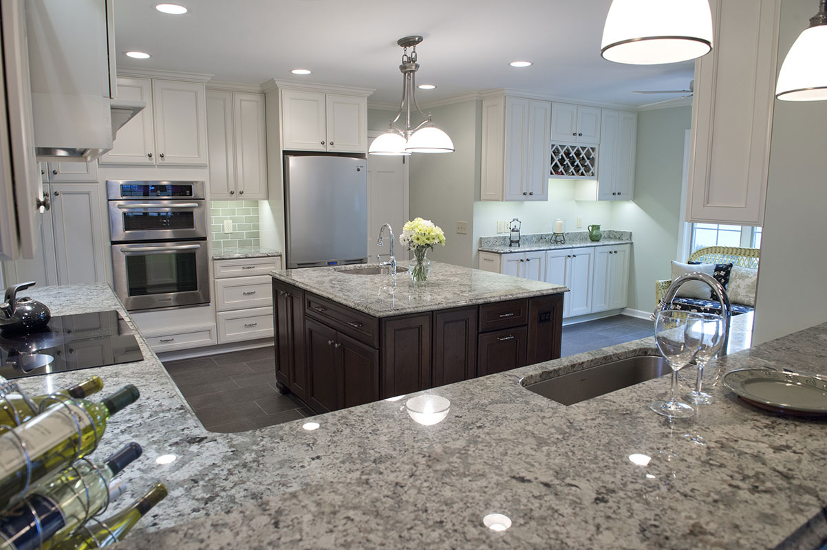 Traditional White Kitchen Design White Cabinets Dark Wood