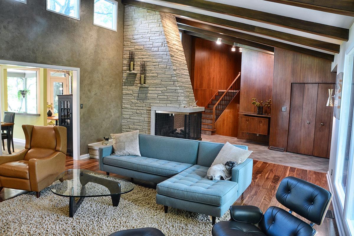 Beau Modern Retro Living Room Design Floating Multi Wall Textures 3