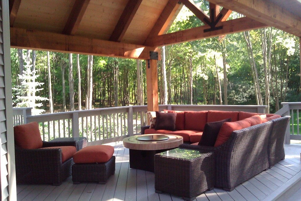 Traditional Outdoor Living Wood Deck Structure Seating Area