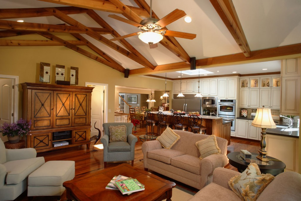 Open Floor Plan Living Room And Kitchen Farmhouse Country Style