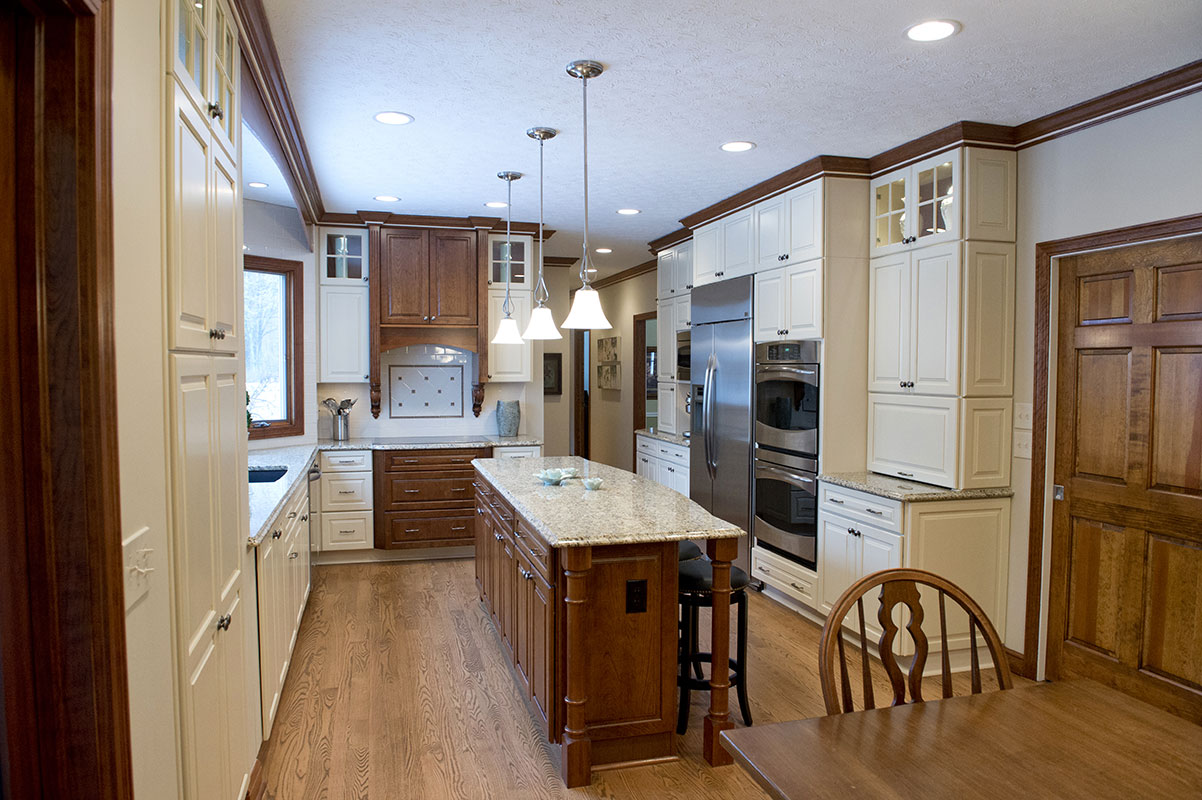 traditional kitchen design custom white cabinets dark wood center island 4