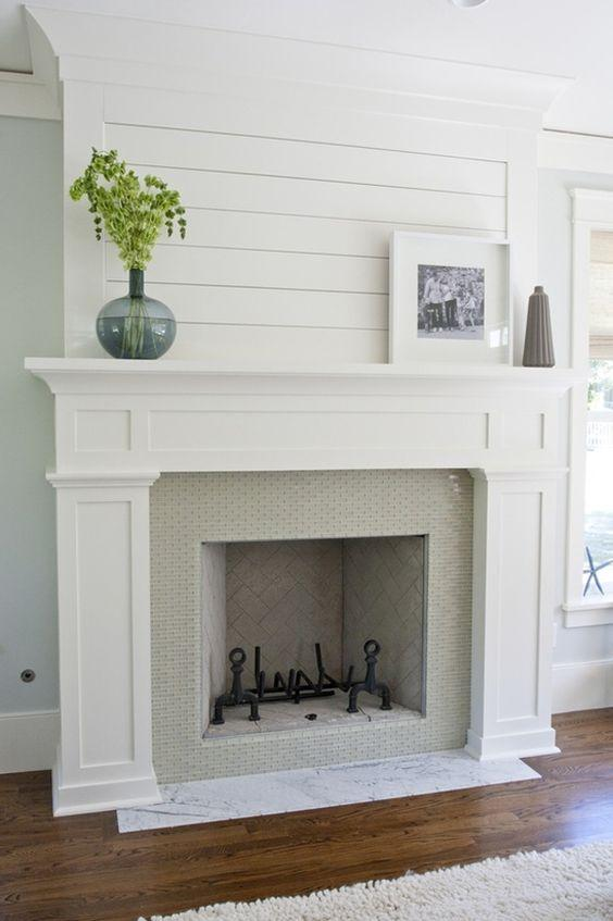 Fireplace With Tile And Shiplap