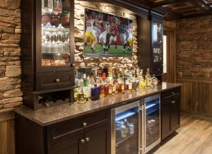 Hudson Award Winning Basement - with stone wall and brewery
